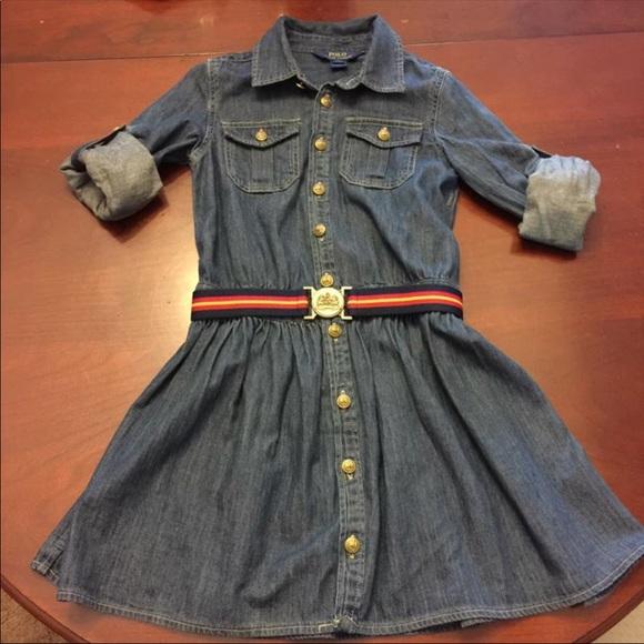 5870116a080 Ralph Lauren Denim Girls dress with matching belt.  M 5a54cd6c1dffdab65204d89a